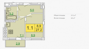 Планировка однокомнатной квартиры 27,20 м2 ЖК ПЕТРОВСКИЙ КВАРТАЛ