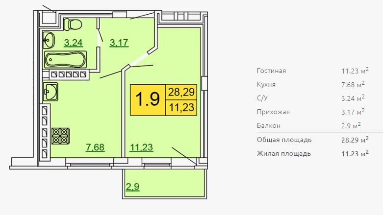 Планировка однокомнатной квартиры 28,29 м2 ЖК ПЕТРОВСКИЙ КВАРТАЛ