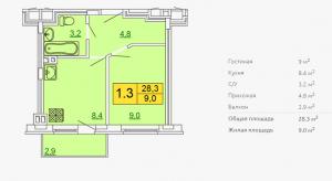 Планировка однокомнатной квартиры 28,30 м2 ЖК ПЕТРОВСКИЙ КВАРТАЛ