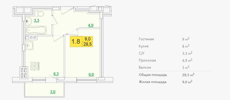 Планировка однокомнатной квартиры 28,50 м2 ЖК ПЕТРОВСКИЙ КВАРТАЛ