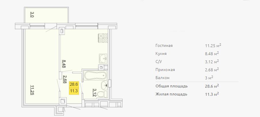 Планировка однокомнатной квартиры 28,60 м2 ЖК ПЕТРОВСКИЙ КВАРТАЛ