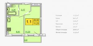 Планировка однокомнатной квартиры 28,95 м2 ЖК ПЕТРОВСКИЙ КВАРТАЛ