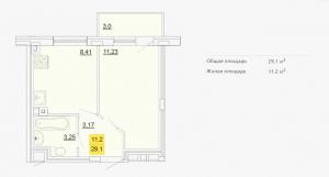 Планировка однокомнатной квартиры 29,10 м2 ЖК ПЕТРОВСКИЙ КВАРТАЛ