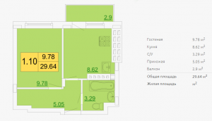 Планировка однокомнатной квартиры 29,64 м2 ЖК ПЕТРОВСКИЙ КВАРТАЛ