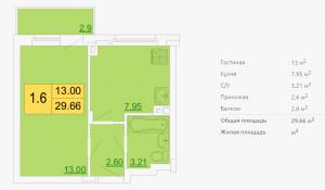 Планировка однокомнатной квартиры 29,66 м2 ЖК ПЕТРОВСКИЙ КВАРТАЛ