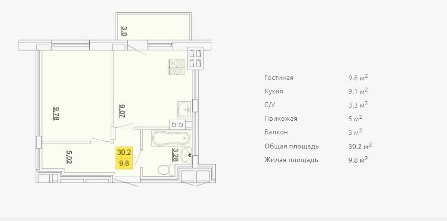 Планировка однокомнатной квартиры 30,20 м2 ЖК ПЕТРОВСКИЙ КВАРТАЛ