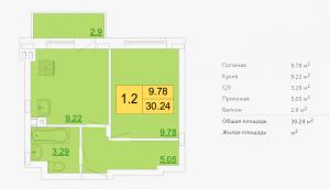Планировка однокомнатной квартиры 30,24 м2 ЖК ПЕТРОВСКИЙ КВАРТАЛ