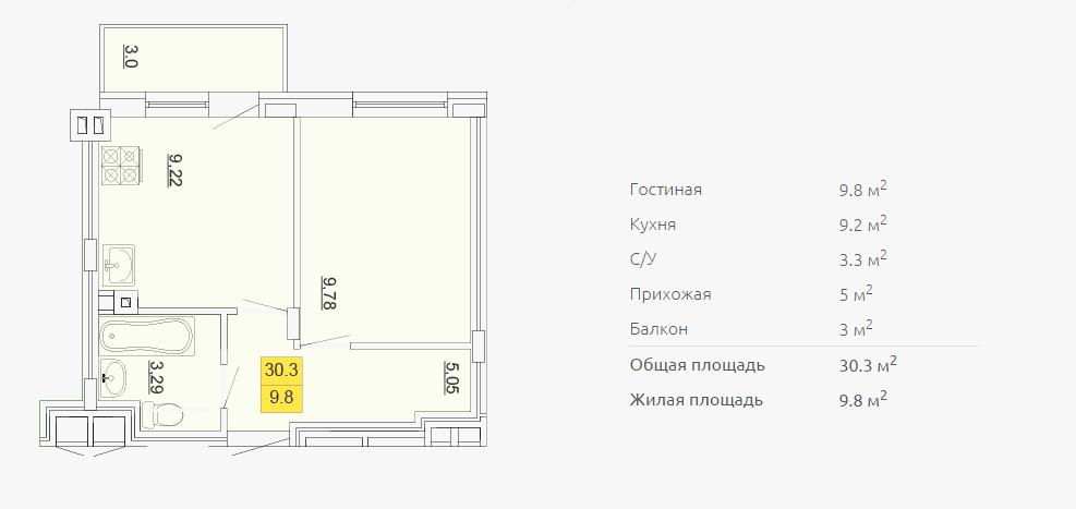 Планировка однокомнатной квартиры 30,30 м2 ЖК ПЕТРОВСКИЙ КВАРТАЛ