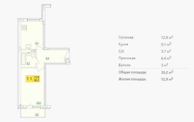 Планировка однокомнатной квартиры 35,20 м2 ЖК ПЕТРОВСКИЙ КВАРТАЛ