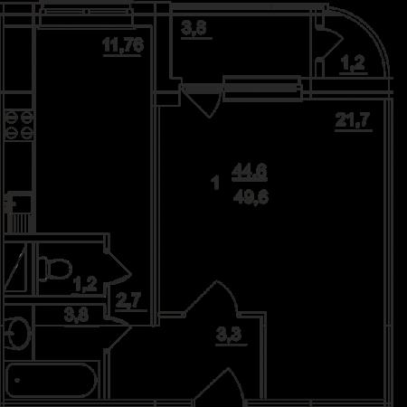 Планировка однокомнатной квартиры площадью 49,60 квадратных метров в ЖК МОСКОВСКИЙ по улице Павшинский мост в городе Туле