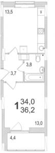 Планировка однокомнатной квартиры площадью 36,20 квадратных метров в ЖК МОСКОВСКИЙ по улице Павшинский мост в городе Туле