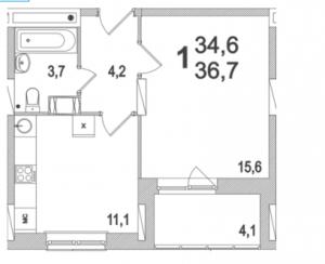 Планировка однокомнатной квартиры площадью 36,70 квадратных метров в ЖК МОСКОВСКИЙ по улице Павшинский мост в городе Туле