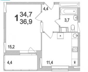 Планировка однокомнатной квартиры площадью 36,90 квадратных метров в ЖК МОСКОВСКИЙ по улице Павшинский мост в городе Туле