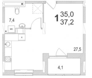 Планировка однокомнатной квартиры площадью 37,20 квадратных метров в ЖК МОСКОВСКИЙ по улице Павшинский мост в городе Туле