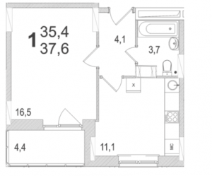 Планировка однокомнатной квартиры площадью 37,60 квадратных метров в ЖК МОСКОВСКИЙ по улице Павшинский мост в городе Туле