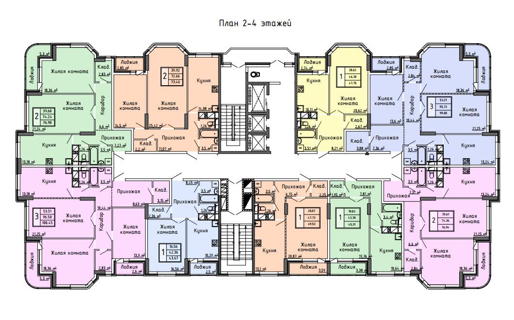 Планировка 2,3,4 этажей дома по ул. Демонстрации