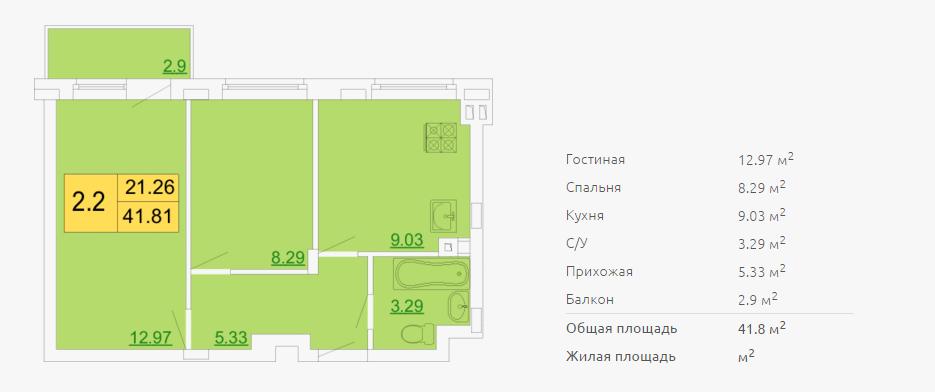 Планировка двухкомнатной квартиры 41,81 м2 ЖК ПЕТРОВСКИЙ КВАРТАЛ