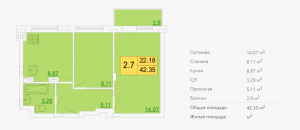 Планировка двухкомнатной квартиры 42,35 м2 ЖК ПЕТРОВСКИЙ КВАРТАЛ