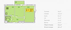 Планировка двухкомнатной квартиры 43,60 м2 ЖК ПЕТРОВСКИЙ КВАРТАЛ