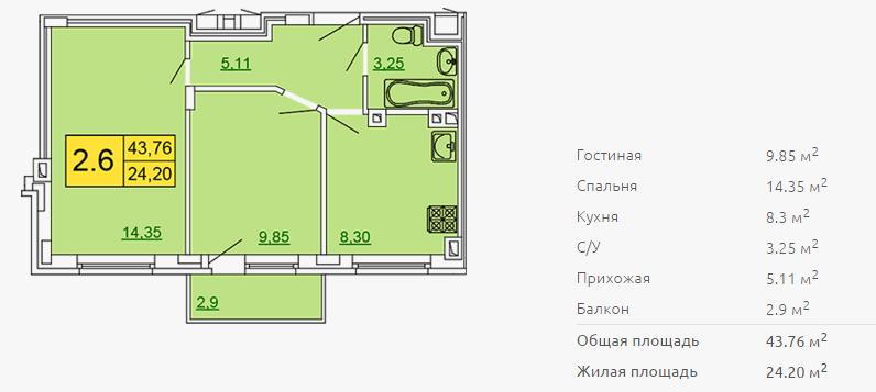 Планировка двухкомнатной квартиры 43,76 м2 ЖК ПЕТРОВСКИЙ КВАРТАЛ