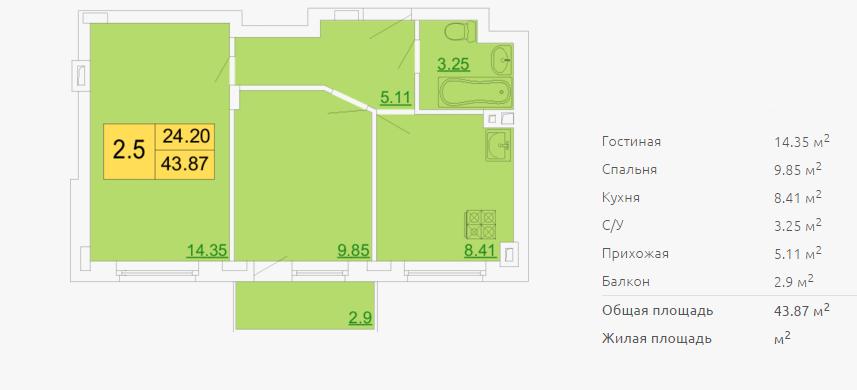 Планировка двухкомнатной квартиры 43,87 м2 ЖК ПЕТРОВСКИЙ КВАРТАЛ