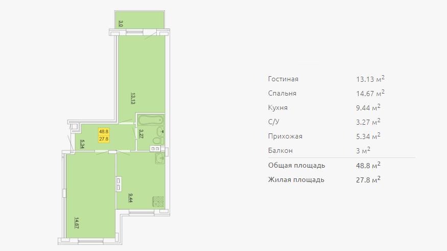 Планировка двухкомнатной квартиры 48,80 м2 ЖК ПЕТРОВСКИЙ КВАРТАЛ