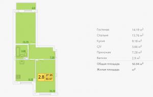 Планировка двухкомнатной квартиры 50,94 м2 ЖК ПЕТРОВСКИЙ КВАРТАЛ