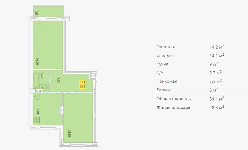 Планировка двухкомнатной квартиры 51,10 м2 ЖК ПЕТРОВСКИЙ КВАРТАЛ