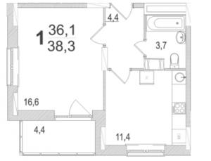 Планировка однокомнатной квартиры площадью 38,30 квадратных метров в ЖК МОСКОВСКИЙ по улице Павшинский мост в городе Туле