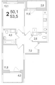 Планировка двухкомнатной квартиры площадью 53,50 квадратных метров в ЖК МОСКОВСКИЙ по улице Павшинский мост в городе Туле