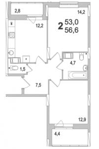 Планировка двухкомнатной квартиры площадью 56,60 квадратных метров в ЖК МОСКОВСКИЙ по улице Павшинский мост в городе Туле