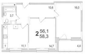 Планировка двухкомнатной квартиры площадью 58,30 квадратных метров в ЖК МОСКОВСКИЙ по улице Павшинский мост в городе Туле