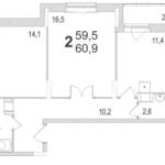 Планировка двухкомнатной квартиры площадью 60,90 квадратных метров в ЖК МОСКОВСКИЙ по улице Павшинский мост в городе Туле