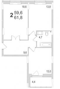 Планировка двухкомнатной квартиры площадью 61,80 квадратных метров в ЖК МОСКОВСКИЙ по улице Павшинский мост в городе Туле