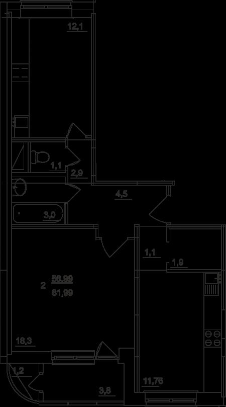 Планировка двухкомнатной квартиры площадью 61,99 квадратных метров в ЖК МОСКОВСКИЙ по улице Павшинский мост в городе Туле