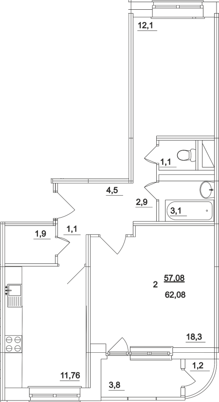 Планировка двухкомнатной квартиры площадью 62,08 квадратных метров в ЖК МОСКОВСКИЙ по улице Павшинский мост в городе Туле