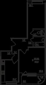 Планировка двухкомнатной квартиры площадью 62,00 квадратных метров в ЖК МОСКОВСКИЙ по улице Павшинский мост в городе Туле