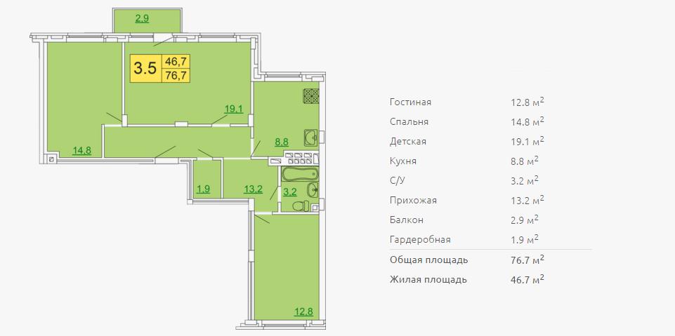 Планировка трехкомнатной квартиры 76,70 м2 ЖК ПЕТРОВСКИЙ КВАРТАЛ