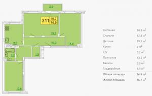 Планировка трехкомнатной квартиры 76,90 м2 ЖК ПЕТРОВСКИЙ КВАРТАЛ