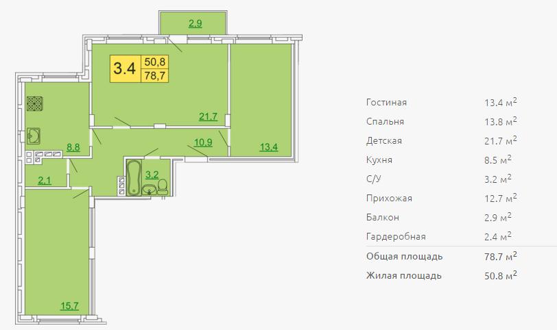 Планировка трехкомнатной квартиры 78,70 м2 ЖК ПЕТРОВСКИЙ КВАРТАЛ