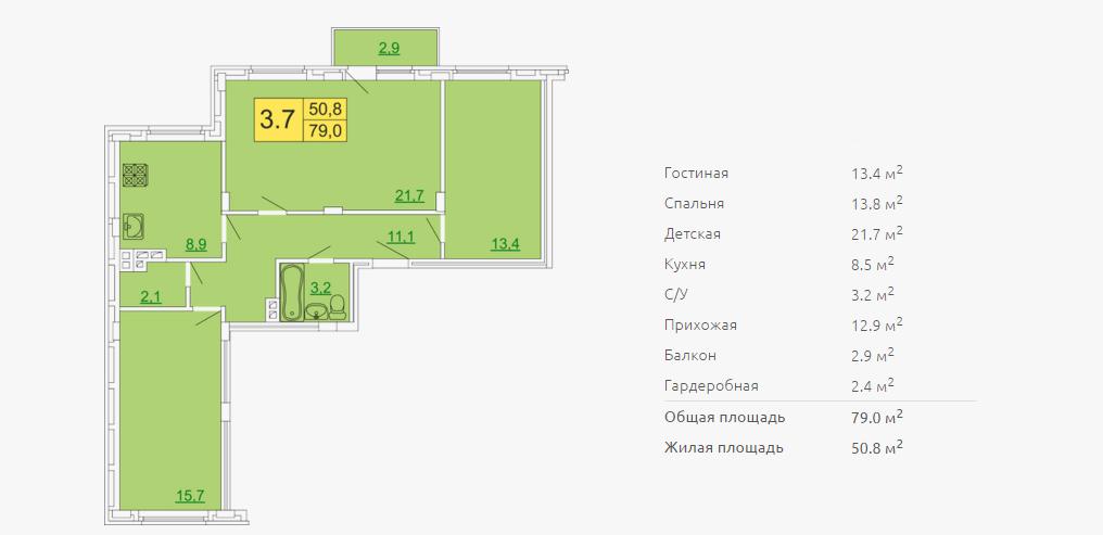 Планировка трехкомнатной квартиры 79,00 м2 ЖК ПЕТРОВСКИЙ КВАРТАЛ