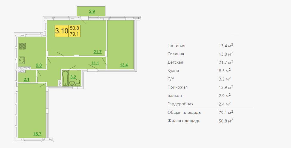 Планировка трехкомнатной квартиры 79,10 м2 ЖК ПЕТРОВСКИЙ КВАРТАЛ