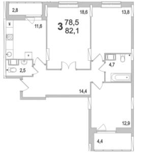 Планировка трехкомнатной квартиры площадью 82,10 квадратных метров в ЖК МОСКОВСКИЙ по улице Павшинский мост в городе Туле