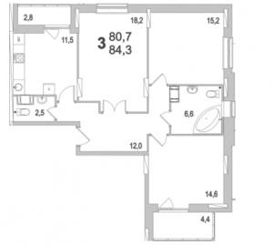 Планировка трехкомнатной квартиры площадью 84,30 квадратных метров в ЖК МОСКОВСКИЙ по улице Павшинский мост в городе Туле