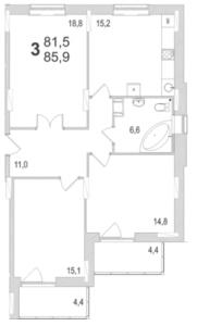 Планировка трехкомнатной квартиры площадью 85,90 квадратных метров в ЖК МОСКОВСКИЙ по улице Павшинский мост в городе Туле