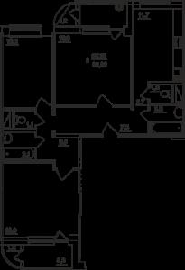 Планировка трехкомнатной квартиры площадью 95,26 квадратных метров в ЖК МОСКОВСКИЙ по улице Павшинский мост в городе Туле