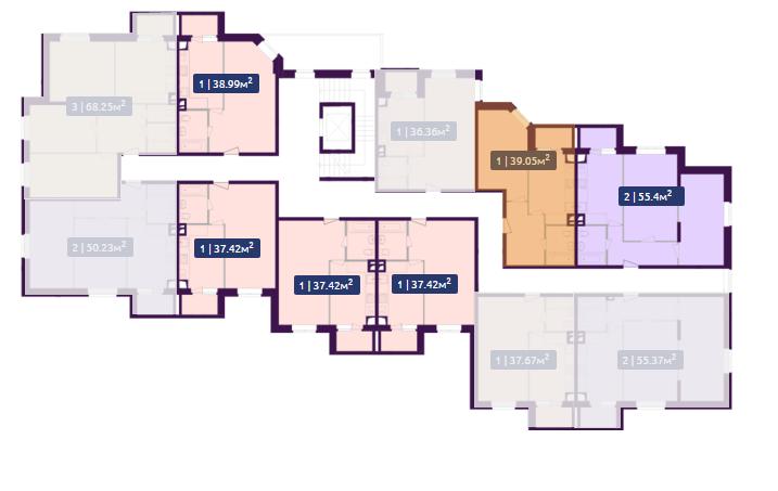 Планировка 7-го этажа ЖК Павлов по ул. Академика Павлова