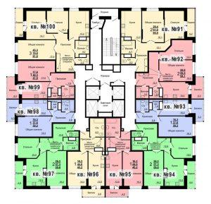 Планировка 10-го этажа 1-го дома ЖК Парковый по ул. Болдина