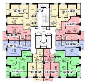 Планировка 11-го этажа 1-го дома ЖК Парковый по ул. Болдина