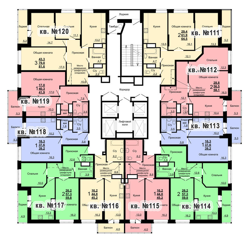 Планировка 12-го этажа 1-го дома ЖК Парковый по ул. Болдина